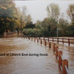 River Beane in flood at Church End ford, 1990s